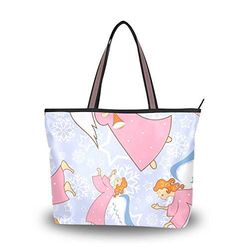 NaiiaN Einkaufstasche für Frauen Mädchen Damen Student Handtaschen Leichter Riemen Frohe Weihnachten Rosa Mädchen Engel Trompete Geldbörse Einkaufstasche Umhängetaschen