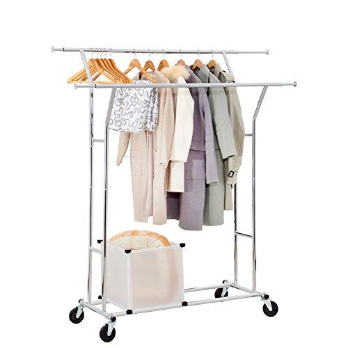Seelux Yorbay Industrie Kleiderständer Garderobenständer auf Rollen 150kg ausziehbar zusammenklappbar Höhenverstellbar Mehrweg