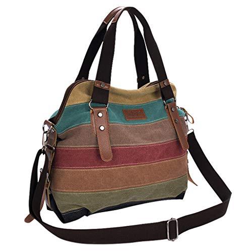 Damen Canvas Handtaschen, Schultertasche Hobos gestreifte Handtasche für Damen Multi-Compartments Color Crossbody Taschen Abnehmbarer und Verstellbarer Gurt