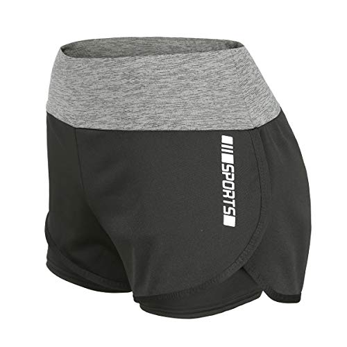 DancingCat High Waisted Workout 2 in 1 Running Shorts for Women Yoga Gym Athletic Sport Activewear Gray S