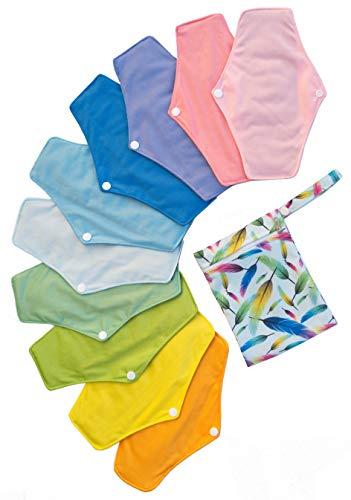 Serviette Hygiénique Lavable Kit de 10 Serviettes Menstruelles Réutilisables 25,4cm Intérieur Charbon de Bambou Assortiment de Couleurs Unies + Mini Sac