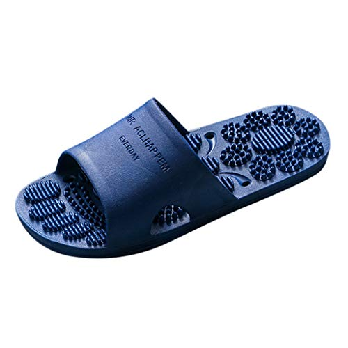 ZYAPCNGN Women Men Massage Slippers Outdoors Work Slippers Home Bath Loafers Flip Flops Rubber Bottom Loafers Dark Blue