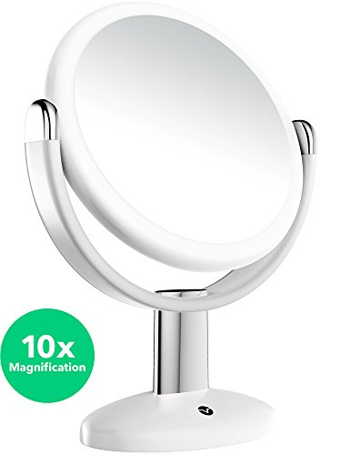 Vremi 10x Magnified Vanity Mirror  7 Inch Round Makeup Cosmetic Mirror for Bathroom or Bedroom Table Top  Portable Double Sided Glass Mirror Stand with 360 Degree Swivel  White