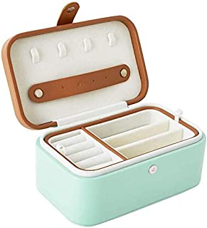 Jewelry Storage Box Portable Exquisite Small Jewelry Finishing Box (Color : Green)