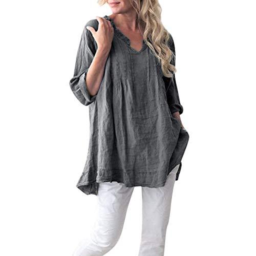 Fcostume Camicetta da Donna Top Eleganti Camicie a Manica Lunga Camicia a Maniche Lunghe Scollo a V Casacca Casual 5 Colori