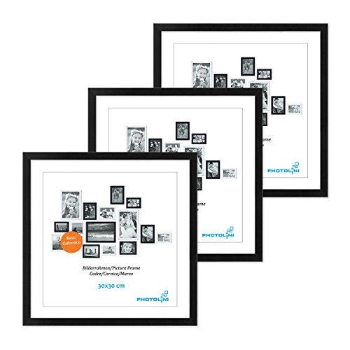 PHOTOLINI 3er Set Poster-Bilderrahmen 30x30 cm Modern Schwarz aus MDF mit Acrylglas/Posterrahmen/Wechselrahmen