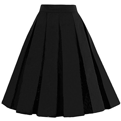 DresseverBrand Damen Rockabilly Rock A Linie Retro Rock Midi Swing R?cke Black Large