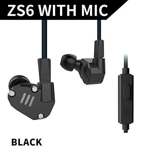 KZ ZS6 2DD+2BA - Auriculares intrauditivos híbridos, KZ ZS5 Pro negro