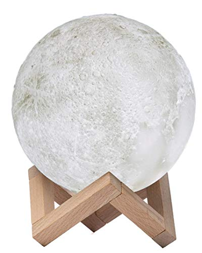 3D Moon Lamp and Night Light For Kids and Adults - Enjoy The Relaxing Ambience and Magic Of Lunar Moonlight In Any Room - USB Rechargeable, 3 Colour Settings and Touch Control - Includes Wooden Stand