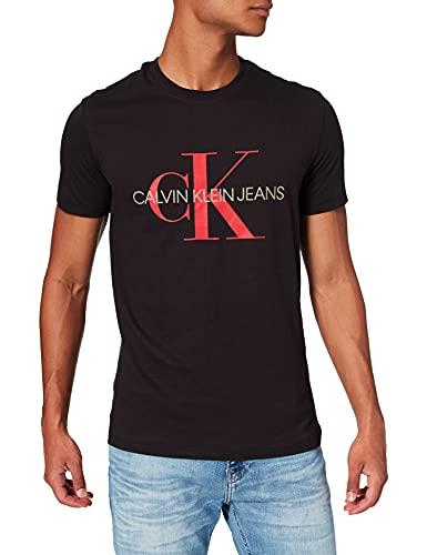 Calvin Klein Jeans Seasonal Monogram tee Camiseta, CK Black/Salsa, M para Hombre