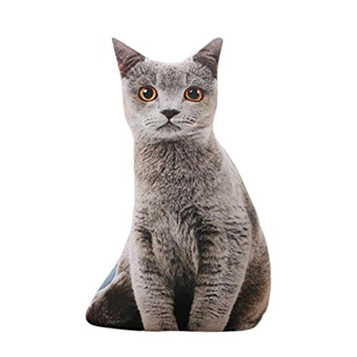 HUHU833 50cm Stuffed 3D Simulation Cat Pillow Funny Cat Toy Lovely Cat Cushions (Gray)