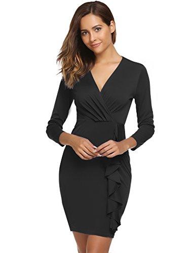 ACEVOG Women Wear to Work Business Party Bodycon One-Piece Dress Black1 L