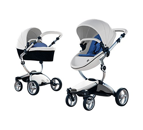 Best Bargain Mima Xari Stroller Authorized Seller (Aluminum Chassis, Snow White Seat, Denim Blue Sta...