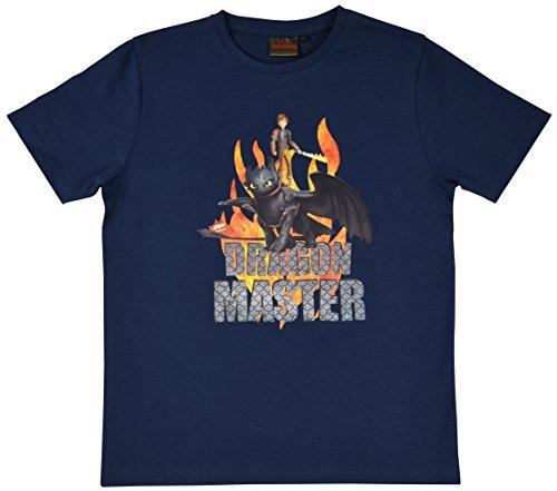 Dreamworks Dragons Kinder T-Shirt Ohnezahn Toothless & Hicks, Blau (116-122)