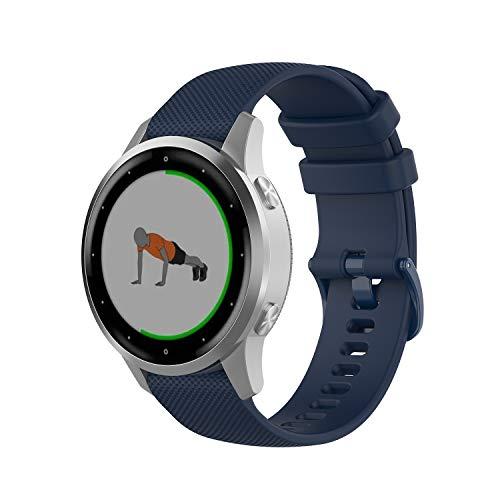 Wownadu 18MM Correa Compatible para Garmin Vivoactive 4S, Compatible para Garmin Vivomove 3S Correa Mujer Hombre Pulsera Recambio Sport Silicona Band Azul (sin Reloj)