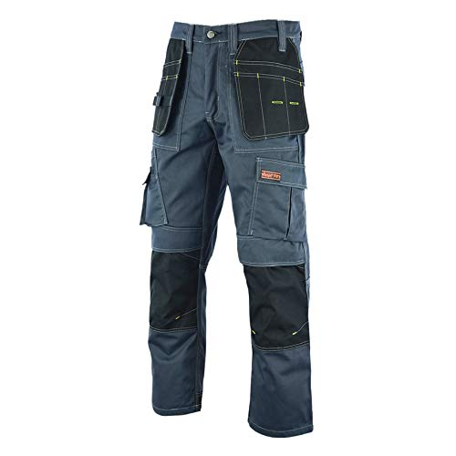 WrightFits Men Pro Builder Work Trousers Grey - Heavy Duty Safety Combat Cargo Pant - Multi Pockets & Knee Pad Pockets - Triple Stitched -Durable Work wear (32W X 29L, Gery)