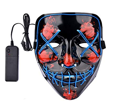 Lumiere Halloween Scary Light Up LED Purge Mask for Festival, Party, Cosplay Blue