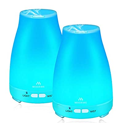 2 Pack 200ML Diffuser Waterless Auto Shut-Off Essential Oil Diffuser with 7 LED Light Colors Ultrasonic Mist Humidifiers Safe and Harmless for Office Home Bedroom Living Room