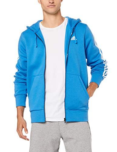 adidas Herren Essentials 3 Stripes Full Zip Kapuzen-Jacke, Bright Blue/White, M
