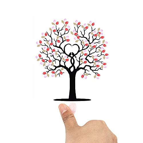 Simple polymer Fingerabdruck-Baum Leinwand Gästebuch Leinwand Fingerabdruck DIY Gäste Signatur...