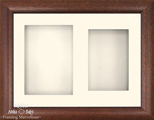 Anika-Baby 29,2 x 21,6 cm Bois foncé effet 3d Cadre d'écran/2 trous Passe-partout crème
