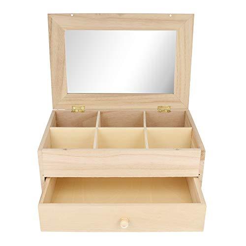 Artemio Schmuckkiste mit 6 Fächern, aus Holz, mit Spiegel und Schublade, Beige