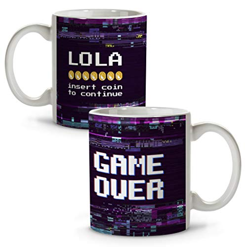LolaPix Taza Game Over. Tazas Personalizadas. Regalo Friki. Tazas Originales con Nombre. Game Over
