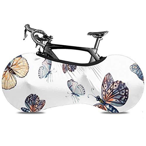 Flamingo Bird Cubierta portátil para bicicleta interior antipolvo alta elástica cubierta de rueda protectora de bicicleta Rip Stop neumático carretera mtb bolsa de almacenamiento, Acuarela Hermosa Mariposa, talla única