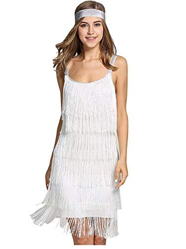 L'VOW Vestido para mujer de los años 20, con flecos, con cinta para la cabeza, Blanco, L
