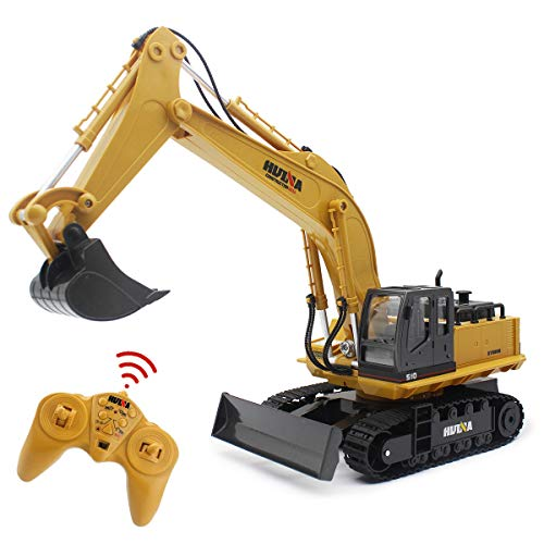 Fisca Remote Control Excavator RC Digger, 2.4Ghz 11 Channel Construction Vehicle Full Function Toy Metal Shovel with Lights and Sound