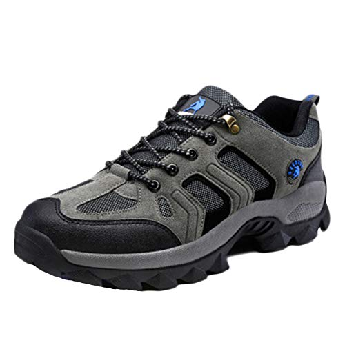 Botas De Montaña Hombre Mas Alta Trekking Zapatos Al Aire Libre Antideslizante Respirable Caminar Alpinismo Enviar Calcetines Gris 45 EU
