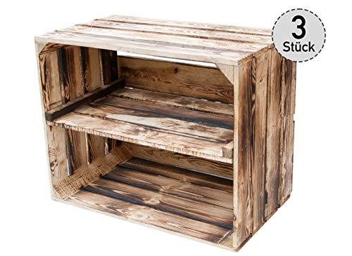 *3er Set* geflammte Obstkisten mit Zwischenbrett längs – Holzkisten als Schuhregal – Vintage - 50x30x40cm