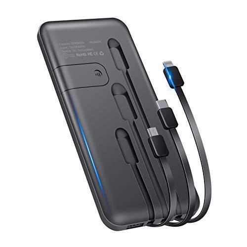 モバイルバッテリー 10000mAh 新版 大容量 3ケーブル内蔵(Lightning+Micro USB+Type C) 軽量 薄型 急速充電 スマホ充電器 携帯バッテリー 持ち運び便利 4台同時充電でき 残量表示 スタンド機能搭載 防災グッズ PSE認証済 iPhone/iPad/Android対応