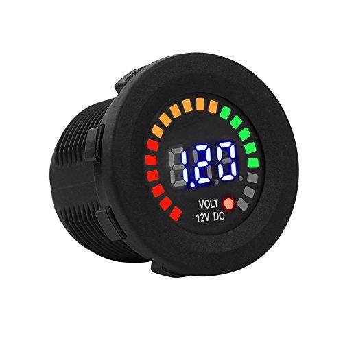 Keenso 12 V digitale LED-Panel Spannung Anzeige Wasserdicht Voltmeter für Boot Marine Fahrzeug Motorrad Lkw Atv UTV Auto Wohnmobil
