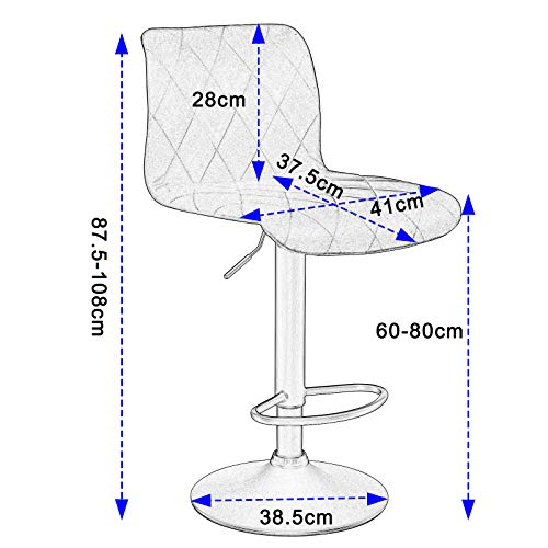 Lestarain 2 x Barhocker Drehstuhl Tresenhocker Barstuhl Samt Stahl mit Rücklehne Höhenverstellbar,Dunkelgrau - 6