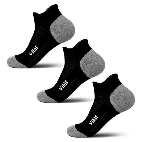 Vihir Laufsocken, Sneaker Socken Herren Damen, Low Cut Sportsocken Unisex, Atmungsaktive Socken, Leichte, Running Socken, Antiblasen, Anti-Schweiß, Pilates, Joggen, Yoga, Fitness socken, 3 Paare
