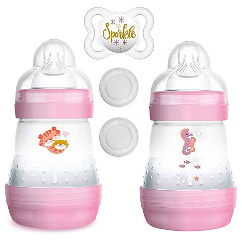 MAM Anti Colic Flasche 160 ml // 2er Set Girl // inkl. Sauger Größe 1 ab Geburt //