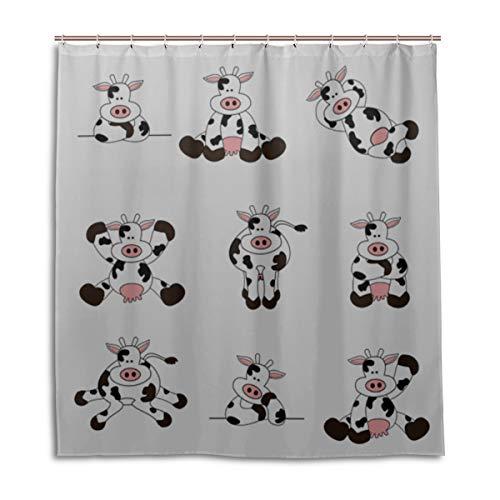 Yushg Mädchen Bad Duschvorhang Kuh weiblich Kawaii niedlichen Tier Bad Duschvorhang für Frauen 66 x 72 Zoll maschinenwaschbare wasserdichte Bad Vorhänge