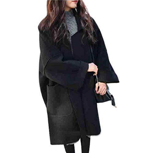 XMZFQ Womens Wool Coats Winter Loose Woolen Trench Coat Outwear Warm Peacoat Cocoon Jacket Overcoat for Ladies of Different Body Types,Black,L