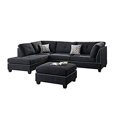 Poundex F6974 Bobkona Viola Linen-Like Polyfabric Left or Right Hand Chaise Sectional Set with Ottoman (Pack of 3), Black