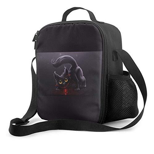 Lawenp Bolsa de almuerzo aislada Cheshire cat hd art negro, bolsa de almuerzo plana a prueba de fugas con correa para el hombro para hombres y mujeres, adecuada para el trabajo y la oficina