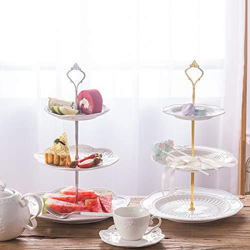 xzfddn Plato de fruta, sala de estar, tres capas de estante para pasteles, plato de fruta seca, refresco por la tarde, mesa de corazón, plato de postre, mesa de postre.