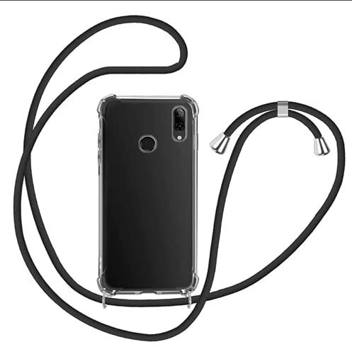 Genlision Compatible con Huawei P Smart 2019/Honor 10 Lite Funda.Carcasa Case con Ajustable Cordón.Prueba de choques Carcasa Transparente TPU-Negro