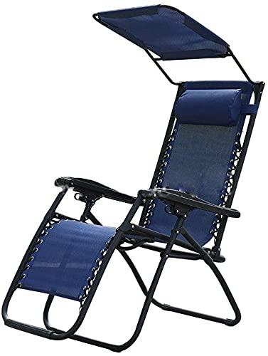 GAO XING SHOP Silla de playa plegable con sombra de sol y refugio silla de oficina para patio, jardín, camping, picnic, playa, relajación, cero gravedad silla reclinable