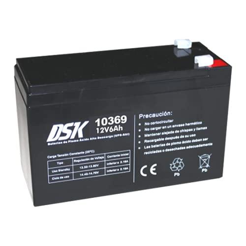 DSK 10369 - Batería Plomo Alta Descarga AGM Sellada de 12V y 6Ah Batería Ideal para UPS-SAI, Sistemas de Seguridad y comunicación, Luces de Emergencia…