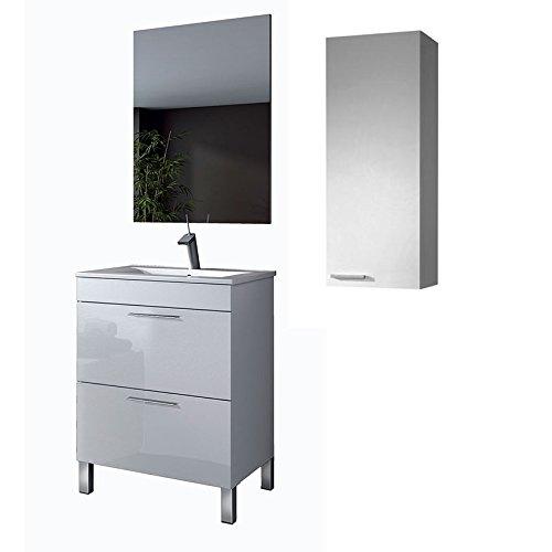 HABITMOBEL Mueble de baño con Grifo + Lavabo + Espejo+ Columna suspendida 80cm