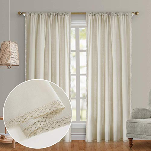 HOMEIDEAS Semi Sheer Curtains Ivory Linen Curtains 52x84 Inches Long 2 Panels Light Filtering Farmhouse Curtains for Living Room/Bedroom, Airy Pocket Boho Window Curtains/Drapes
