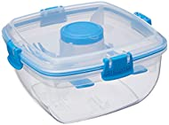 Sistema Klip It Salad To Go 1.1 Litre Container 21356,Clear with Coloured Clips, Assorted Colours, O...