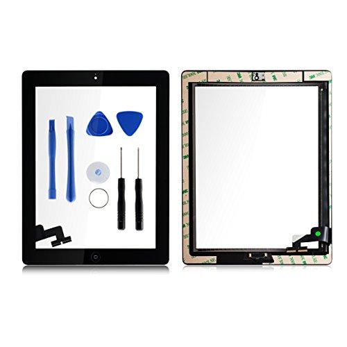 Für Apple iPad 2 Screen-Digitizer Glass Replacement mit Home Button und Werkzeuge zur Reparatur Schwarz