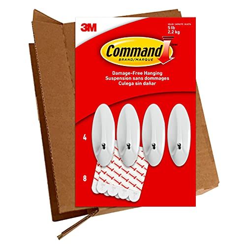 Command Large Wire Hooks, 4-Hooks, 8-Strips, Holds up to 5 lbs - Easy to Open Packaging
